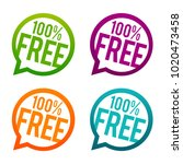 100  free buttons. circle eps10 ... | Shutterstock .eps vector #1020473458