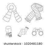 various kinds of scarves ... | Shutterstock .eps vector #1020481180