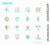 creative thin line icons set ... | Shutterstock .eps vector #1020482269