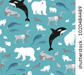 vector arctic animals seamless... | Shutterstock .eps vector #1020484489