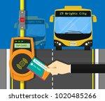 card ticket validation scanning ... | Shutterstock .eps vector #1020485266