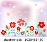 hello spring floral background. ... | Shutterstock .eps vector #1020489430