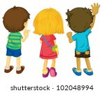 illustration of 3 kids with... | Shutterstock .eps vector #102048994