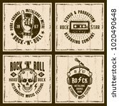 rock and roll music four... | Shutterstock .eps vector #1020490648