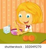 illustration of a girl eating... | Shutterstock .eps vector #102049270