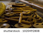 wooden blocks or pulleys with... | Shutterstock . vector #1020492808