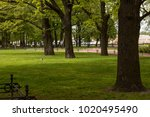 beautiful urban city park at... | Shutterstock . vector #1020495490