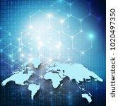 world map on a technological... | Shutterstock . vector #1020497350
