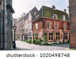 beautiful street with... | Shutterstock . vector #1020498748