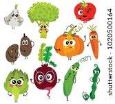 cartoon funny vegetable... | Shutterstock .eps vector #1020500164