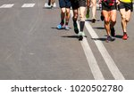 detail of a group of runners... | Shutterstock . vector #1020502780