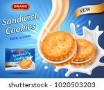 sandwich cookies ads. delicious ... | Shutterstock .eps vector #1020503203