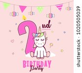 birthday party invitation with... | Shutterstock .eps vector #1020505039