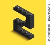 realistic black 3d isometric... | Shutterstock .eps vector #1020505348