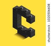 realistic  3d isometric letter... | Shutterstock .eps vector #1020506608