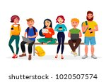 young people gather together... | Shutterstock .eps vector #1020507574