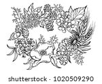 painted wreath with wildflowers | Shutterstock .eps vector #1020509290