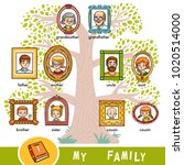 vector cartoon family tree with ... | Shutterstock .eps vector #1020514000