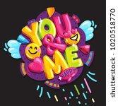 you   me. vector cartoon... | Shutterstock .eps vector #1020518770