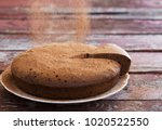 chocolate sponge cake on old... | Shutterstock . vector #1020522550