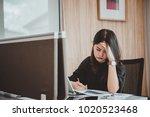 business woman stress from boss ... | Shutterstock . vector #1020523468