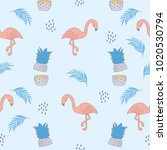 seamless flamingos and... | Shutterstock .eps vector #1020530794