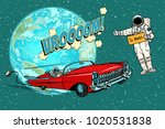 hitchhiking astronaut waiting... | Shutterstock .eps vector #1020531838