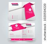 fold brochure template. flyer... | Shutterstock .eps vector #1020534220
