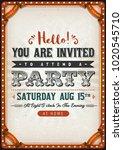 vintage party invitation card ... | Shutterstock .eps vector #1020545710
