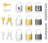 set of realistic key and... | Shutterstock .eps vector #1020552124