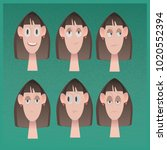 six emotional types of female... | Shutterstock . vector #1020552394