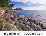 distance view of sveti stefan...   Shutterstock . vector #1020553924