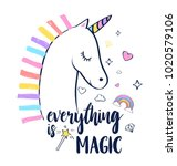 unicorn print design with... | Shutterstock .eps vector #1020579106