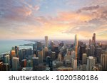 chicago skyline at sunset time... | Shutterstock . vector #1020580186
