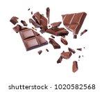 chocolate broken into pieces in ... | Shutterstock . vector #1020582568