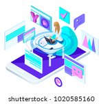 isometric young girl with... | Shutterstock .eps vector #1020585160