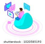 isometrics a man communicates... | Shutterstock .eps vector #1020585193