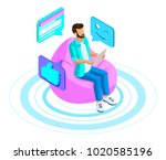 isometrics man communicates in... | Shutterstock .eps vector #1020585196