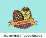 hand drawn easter eggs... | Shutterstock .eps vector #1020586003