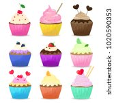 set cupcakes on a white... | Shutterstock .eps vector #1020590353