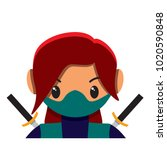 vector cute female ninja... | Shutterstock .eps vector #1020590848