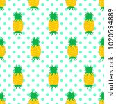 seamless pattern with pineapple ... | Shutterstock .eps vector #1020594889