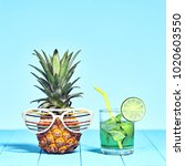 tropical pineapple hipster with ... | Shutterstock . vector #1020603550