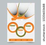 orange and green business flyer.... | Shutterstock .eps vector #1020603688
