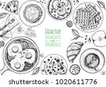 breakfasts top view frame.... | Shutterstock .eps vector #1020611776