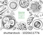 breakfasts top view frame.... | Shutterstock .eps vector #1020611776