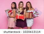 three girls in colorful dresses ...   Shutterstock . vector #1020613114