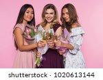 three beautiful girls in...   Shutterstock . vector #1020613144