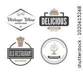 set of restaurant shop design... | Shutterstock .eps vector #1020615268