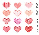 set of hearts for valentines... | Shutterstock .eps vector #1020619960